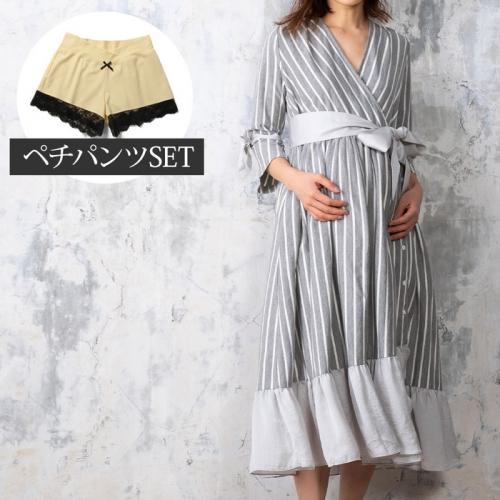 〈SWEET MOMMY〉カシュクールナイティと日本製 レーシーペチショーツのセット