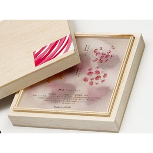 押花コースター木箱セット (カーネーション) + カトラリーレスト ×2