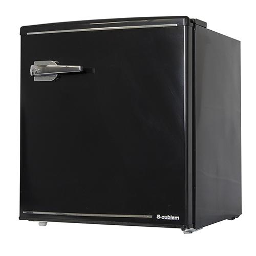 1ドア レトロ冷蔵庫 48L ブラック
