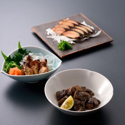 【のまえ】JIMONO「牡蠣の一夜干し・地頭鶏の炭火焼・屋久島の鯖燻製」