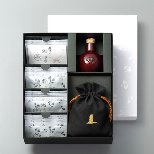 料亭の粉しょうゆギフト2g×16袋(陶器・黒巾着)