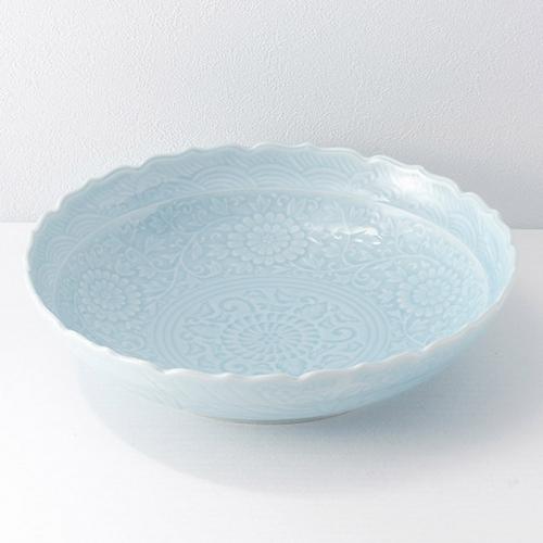 有田焼 青白磁 桔梗渕盛鉢