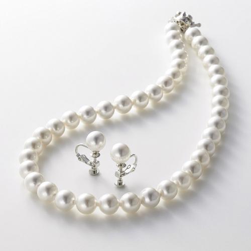 カンサイセレクション 花珠貝パールネックレス&イヤリング ホワイト