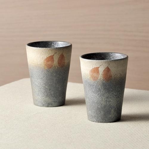信楽焼・プラム絵ペアカップ