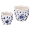 陶器植木鉢(2点セット) 花柄