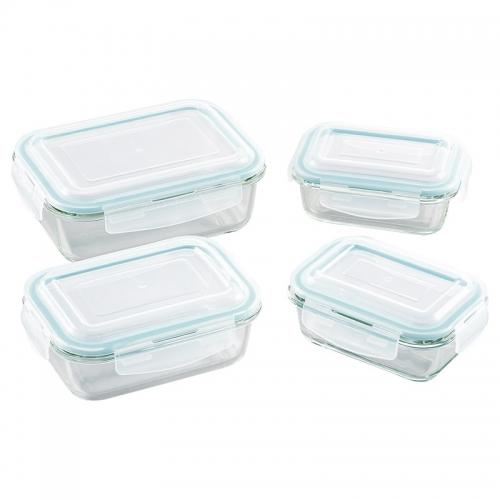 オーブンレンジ対応耐熱ガラス保存容器4pcs