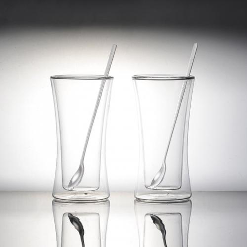 ウェルナーマイスター・耐熱二重ガラスタンブラーペアセット(ロングスプーン付)