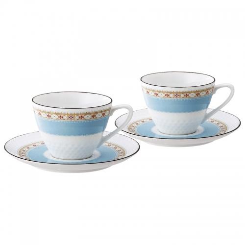 ノリタケ〈ハミングブルー〉・ティー・コーヒー碗皿ペアセット