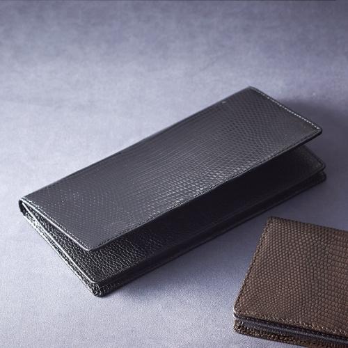 リザード長財布 ブラック