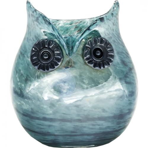 ガラス製 ハンドメイド花瓶 アクアグリーン