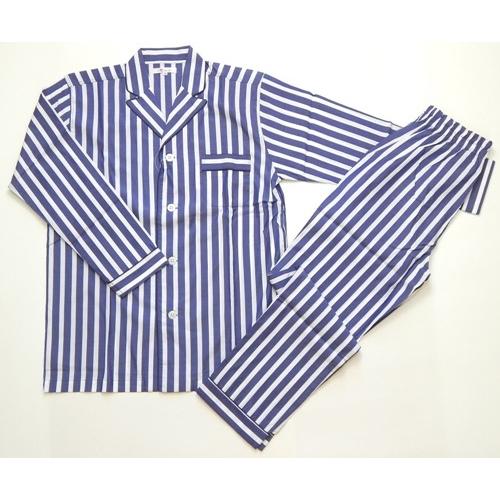 100/2ブロードストライプ柄ピークトラペル メンズパジャマ ブルー