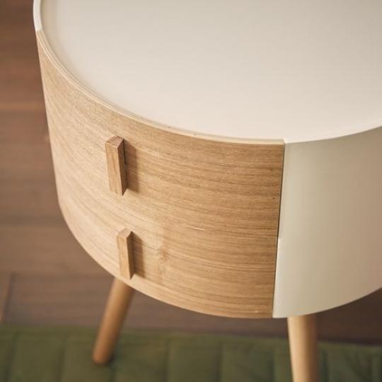 引き出し付き丸形サイドテーブル