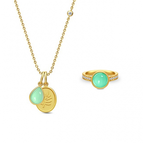 AURORA NECKLACE&RING/GREEN MOON CRYSTAL