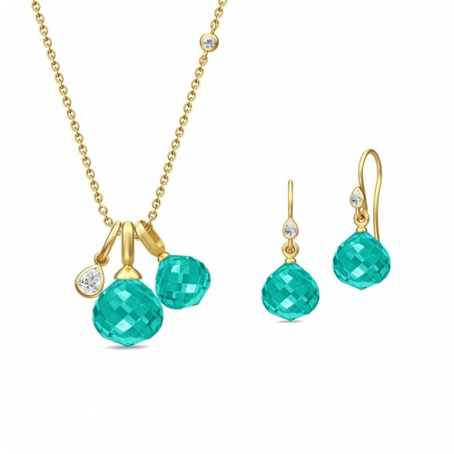 JOY NECKLACE&EARRING/TEAL CRYSTAL