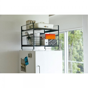 冷蔵庫上収納ラック タワー ブラック