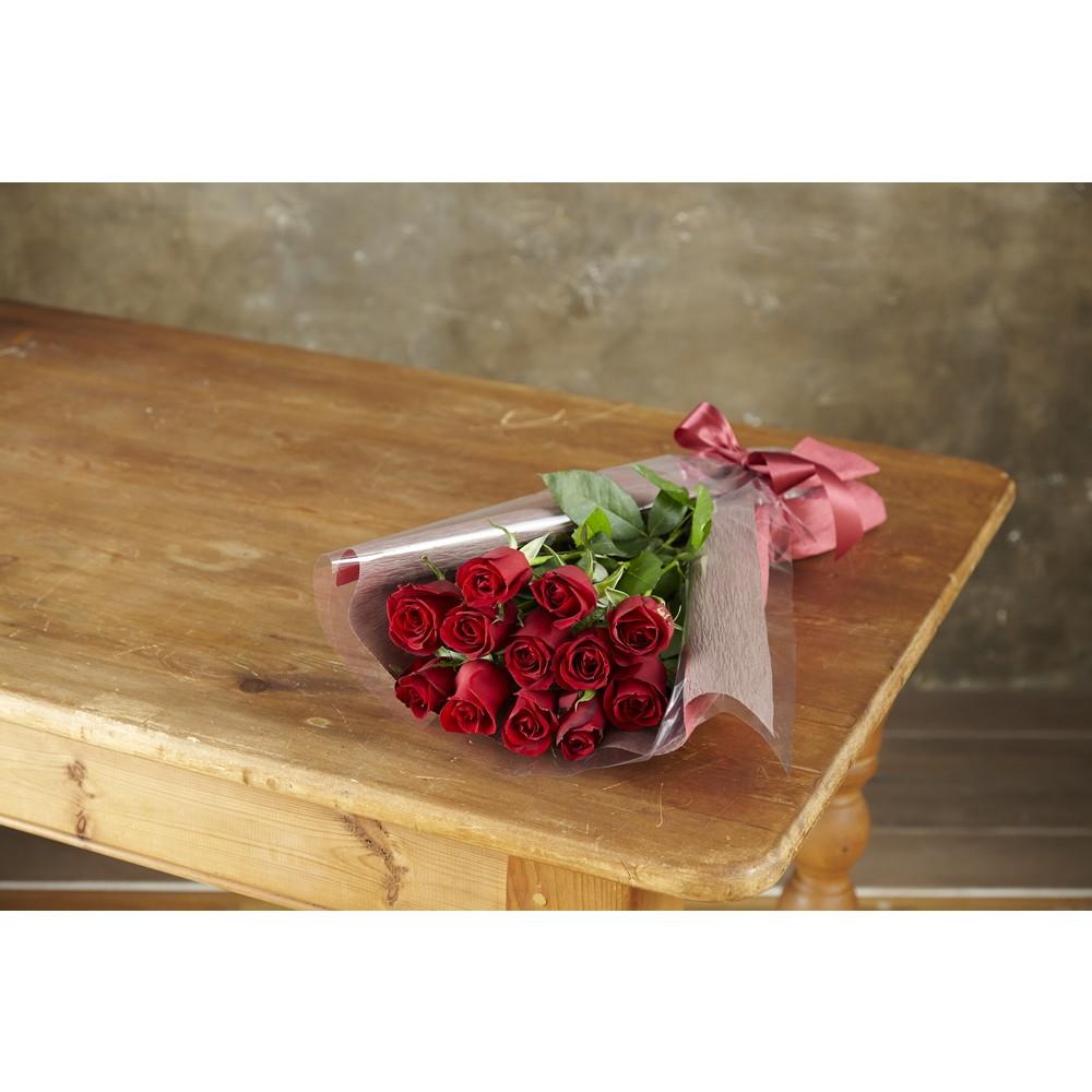 〈日比谷花壇〉赤バラ12本の花束(生花)