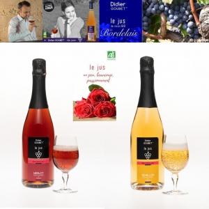 【フランスボルドー直輸入】「Didier」天然果汁100%オーガニックスパークリンググレープジュース(紅白2本セット)