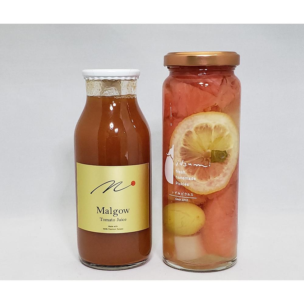 高糖度トマトジュースMalgow・フルーツピクルス(グレープフルーツとぶどう)