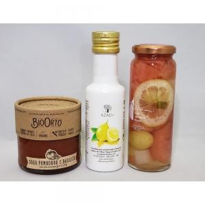 AZADA(アサーダ)オリーブオイル(レモン)・フルーツピクルス(グレープフルーツとぶどう)・BIOORTO(ビオオルト)パスタソース(トマト・バジル)