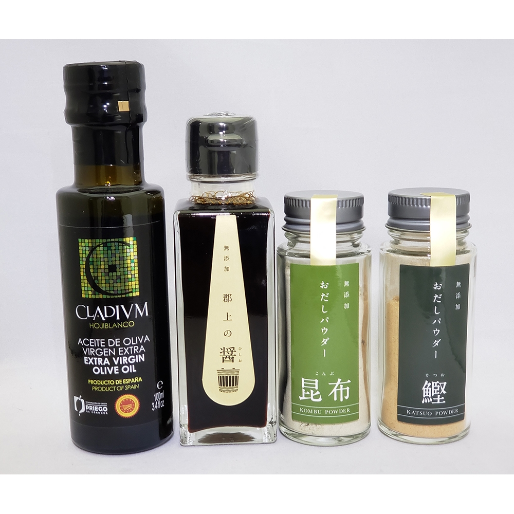 郡上の醤(ひしお)・お出汁パウダー2種(鰹・昆布)・CLADIVM(クラディウン)オリーブオイル