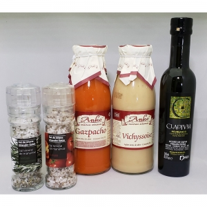 ANKO野菜スープ2種(ガスパチョ、ヴィシソワーズ)・CLADIVM(クラディウン)オリーブオイル・アニャーナ泉の岩塩ミル付き2種(プロバンス風ハーブ、トマト)