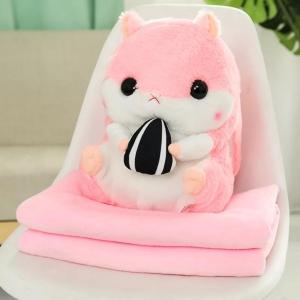 ぬいぐるみ ハムスター 毛布収納セット(ピンク)