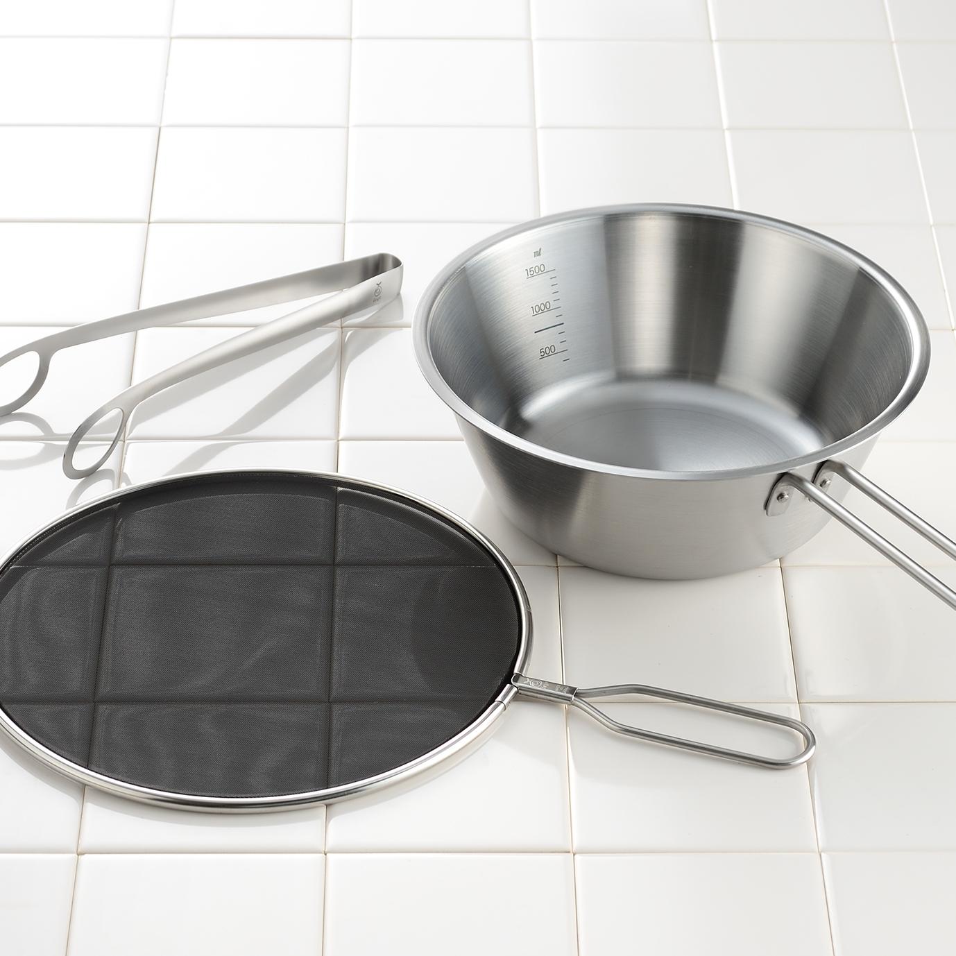 メッシュ蓋で油ハネを防ぐオイルパン トング付