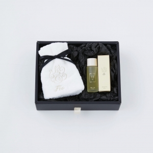 【Foo Tokyo】オーガニックコットン ハンドタオル(ホワイト) & プレミアムバスオイル1本 ギフトセット