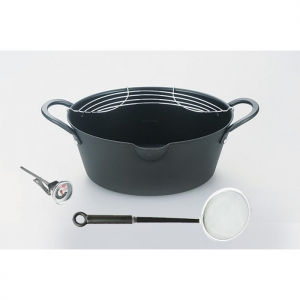 彩芭楕円型天ぷら鍋24cmかす揚・温度計付