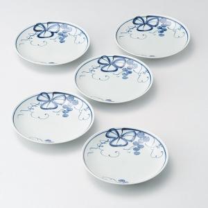 有田焼古染青磁ぶどう絵和皿5客揃 009-474M