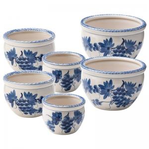 陶器植木鉢(6点セット) ブドウ柄 CV34/3BB-2