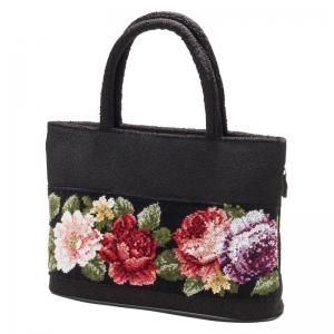 日本製シェニール織バラ柄手提げバッグ ND-8005