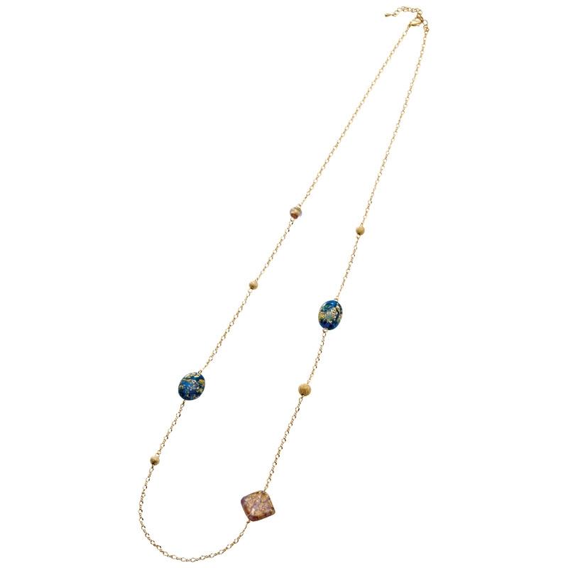 cocoro 金箔ガラスネックレス ブルー 200-APGGNK-BL