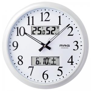 マグ温度湿度計付電波掛時計ダブルリンクW-711WH