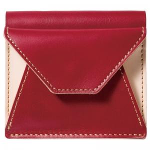 ヌメ革二つ折り財布 レッド OJ-1004