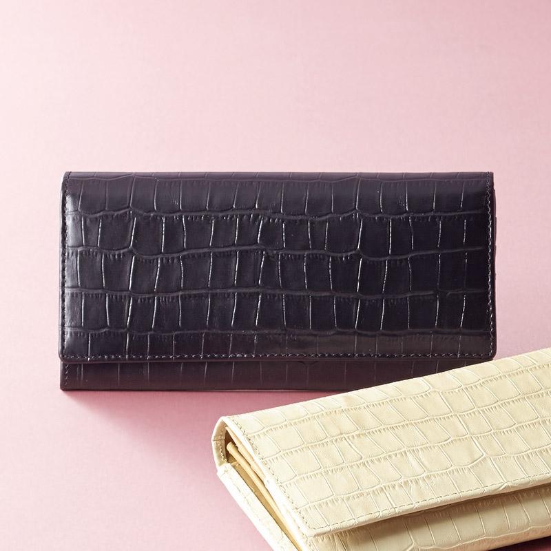カンサイ 婦人用型押長財布ブラック S-KS8100010BK