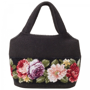 日本製シェニール織バラ柄手提げバッグ ND-10005