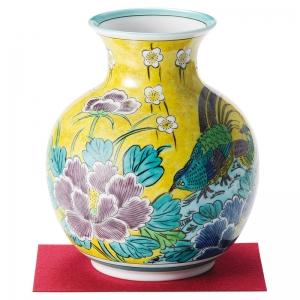 九谷焼 吉田屋花鳥 6.5号花瓶 8-35