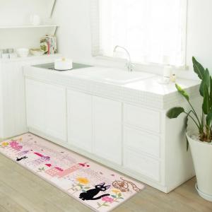 魔女の宅急便 拭けるロングマット 約45×120cm 花のまち ピンク