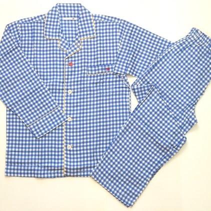 2重織ガーゼチェックプリント メンズテーラーパジャマ ブルー