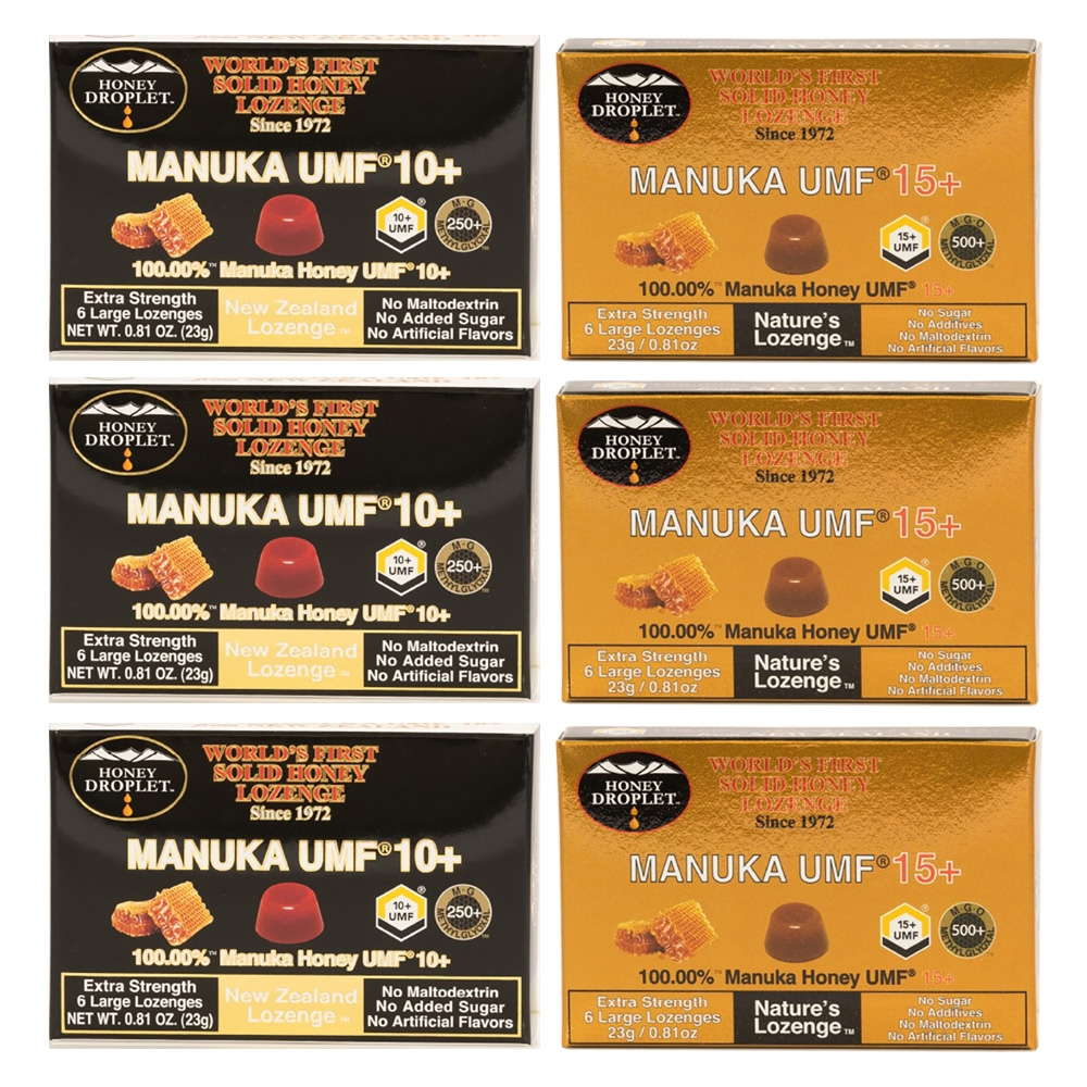 ハニードロップレットマヌカハニー UMF 10+・UMF 15+(のど飴)6箱セット
