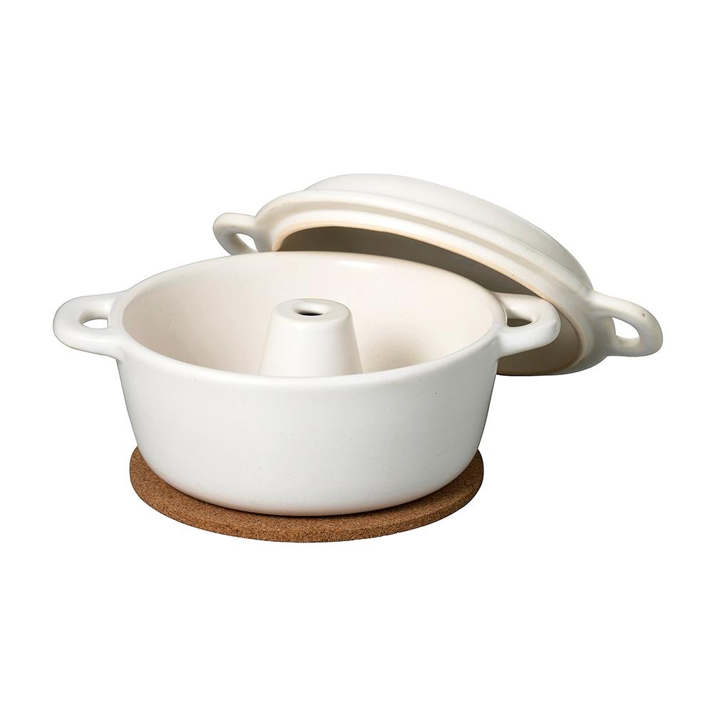 萬古焼 セラミックパン焼器(白)コルク付
