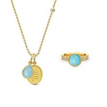 AURORA NECKLACE - GOLD/BLUE MOON CRYSTAL・AURORA RING - GOLD/BLUE MOON CRYSTAL