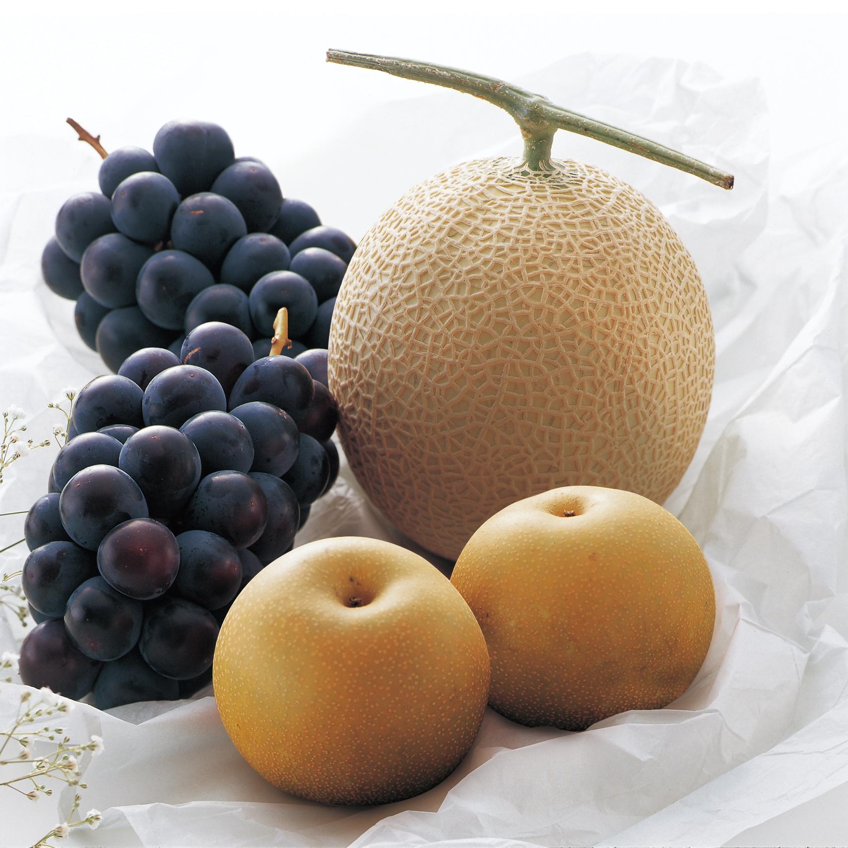 マスクメロンと秋のフルーツ